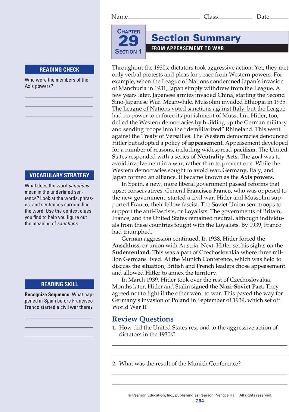 Note Taking Study Guide From Appeasement To War Pdf