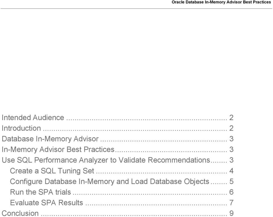 .. 3 Use SQL Performance Analyzer to Validate Recommendations.