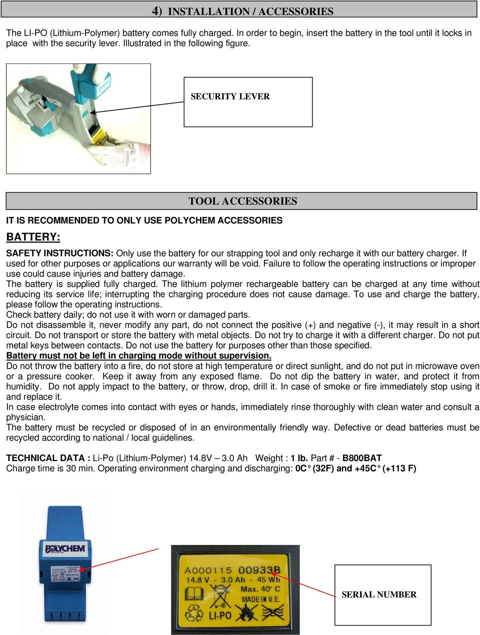 POLYCHEM OPERATION MANUAL SPARE PARTS LIST B800 BATTERY