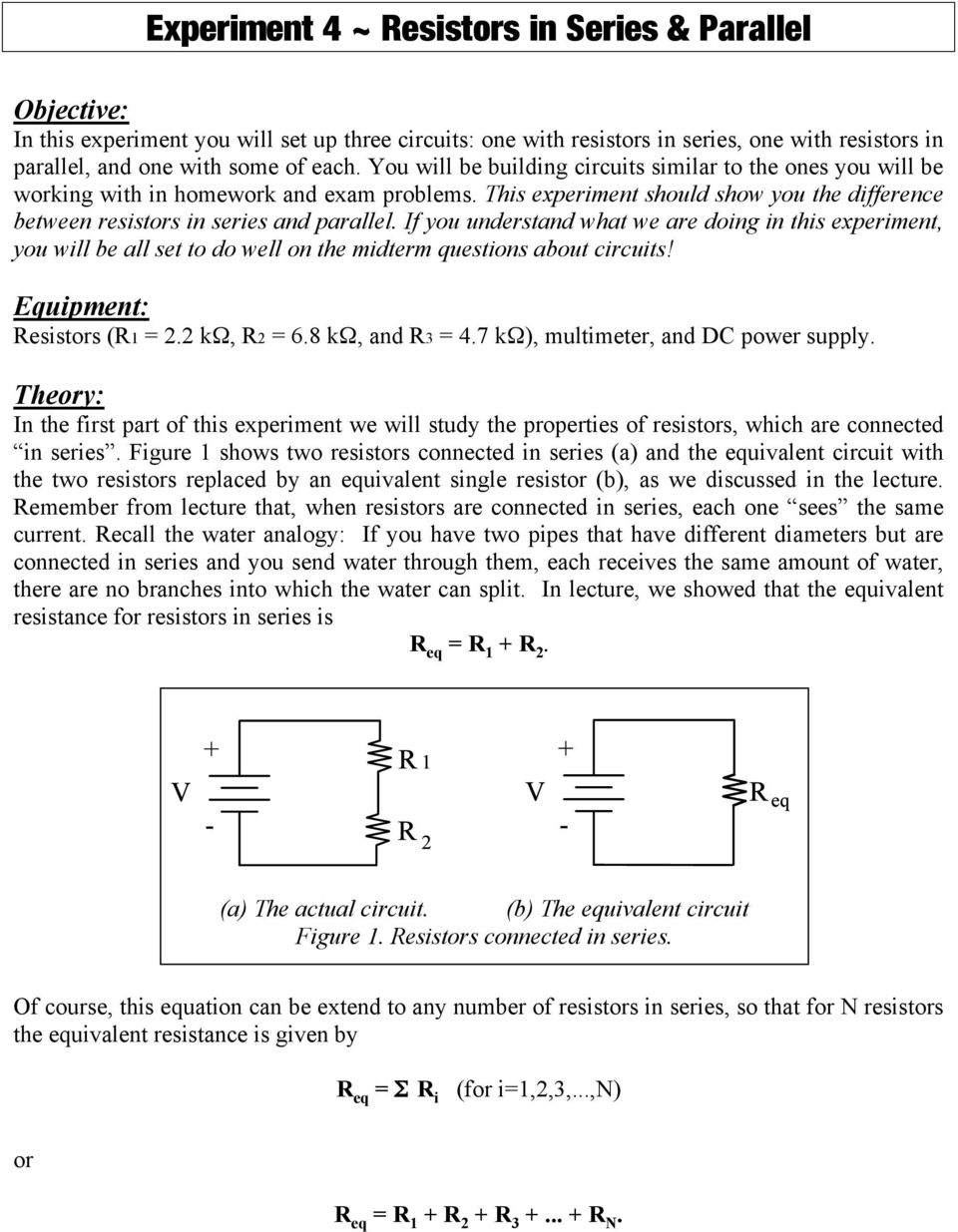 Experiment 4 Resistors In Series Parallel Pdf Simple Voltage Divider Question Electrical Engineering If You Understand What We Are Doing This Will Be All Set