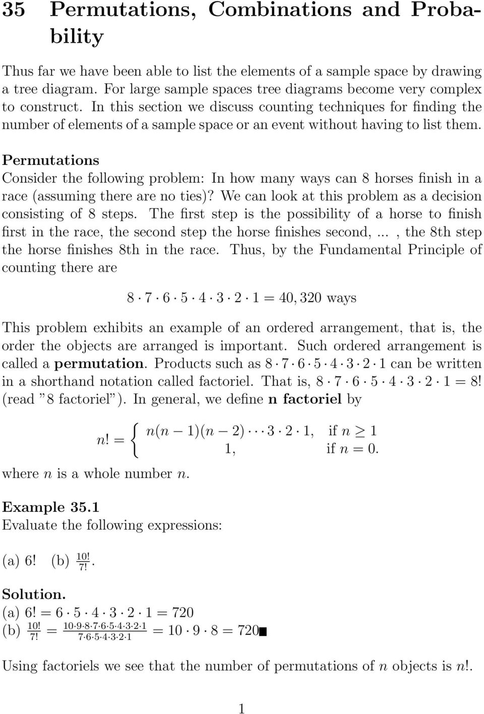 35 Permutations, Combinations and Probability - PDF