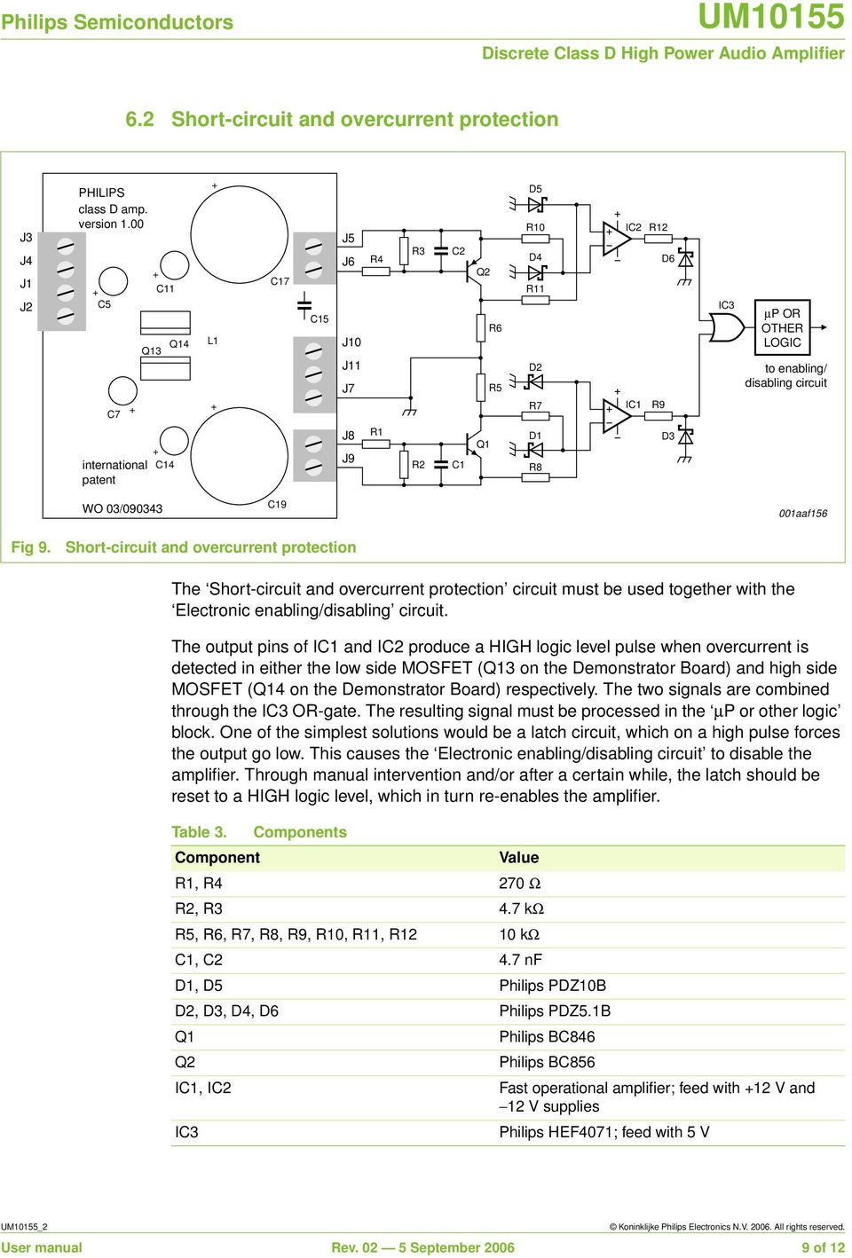Um Discrete Class D High Power Audio Amplifier Document Information 200 Watt Amp Mosfet Schematic Using Philips Transistors Q1 D1 R8 D3 Wo 03 090343 C19 001aaf156 Fig 9