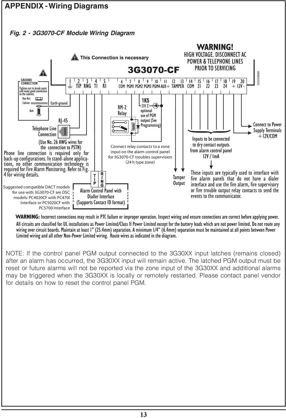 3g3070 Cf Fire Alarm Communicator For Central Station Service Dact Wiring Diagram These Inputs Are Typically Used To Interface With Panels That Do Not Have A
