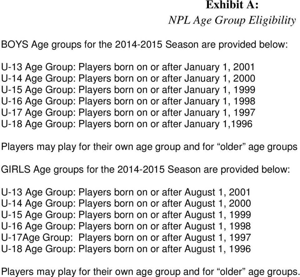 Group: Players born on or after January 1,1996 Players may play for their own age group and for older age groups GIRLS Age groups for the 2014-2015 Season are provided below: U-13 Age Group: Players