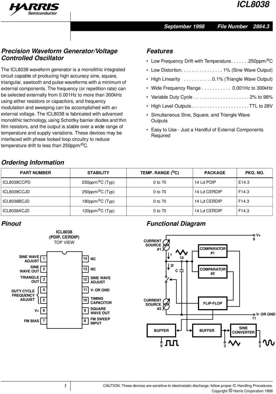 Icl8038 Features Precision Waveform Generator Voltage Controlled National Lm555 Datasheet Replacement For Se555 Ne555 Series And The Connection Diagram Waveforms With A Minimum Of External Components Frequency Or Repetition Rate Can