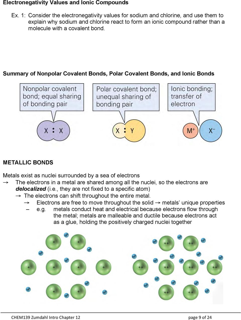 Summary of Nonpolar Covalent Bonds, Polar Covalent Bonds, and Ionic Bonds METALLIC BONDS Metals exist as nuclei surrounded by a sea of electrons The electrons in a metal are shared among all the