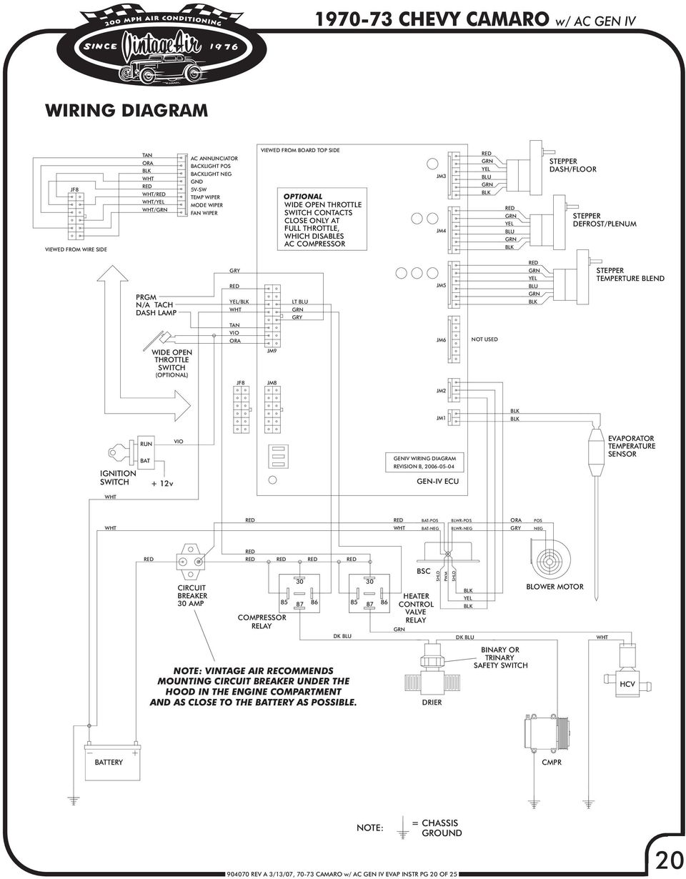 [SCHEMATICS_48IU]  CHEVY CAMARO W/ FACTORY AIR GEN IV REV A 3/13/07, CAMARO w/ AC GEN IV EVAP  INSTR PG 1 OF 25 - PDF Free Download | Vintage Air Wiring Diagram Gen Iv |  | DocPlayer.net