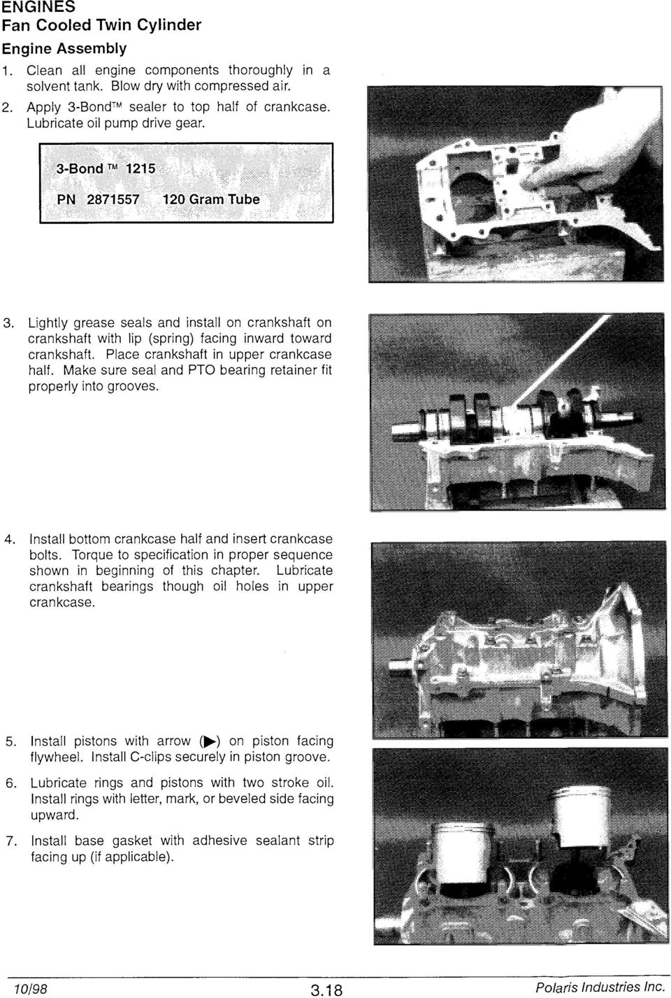 Engines Torque Specifications Pdf 2 4 Twin Cam Engine And Trans Bolts Diagram Place Crankshaft In Upper Crankcase Half Make Sure Seal Pto Bearing Retainer Fit Properly