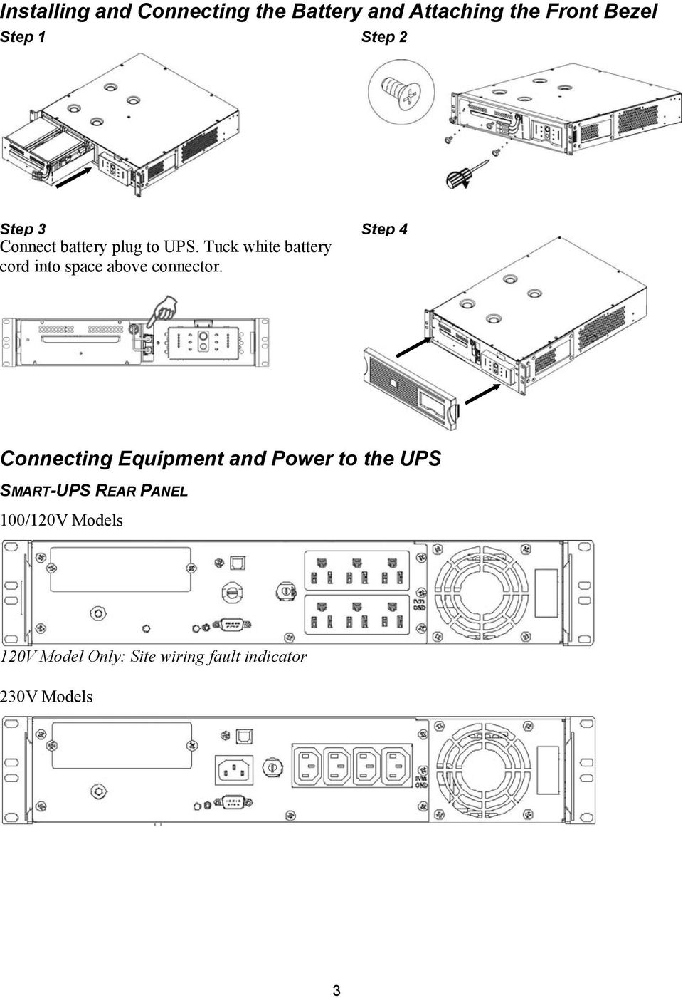 User Manual Smart Ups Uninterruptible Power Supply 750 1000 1500 Battery Wiring Diagram Two Tuck White Cord Into Space Above Connector
