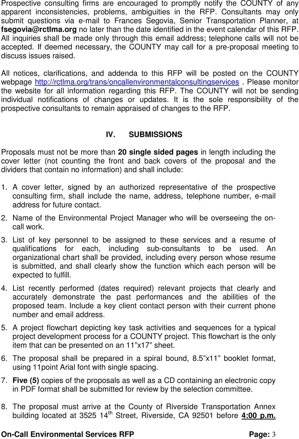 REQUEST FOR PROPOSAL to provide ON-CALL ENVIRONMENTAL CONSULTING ...