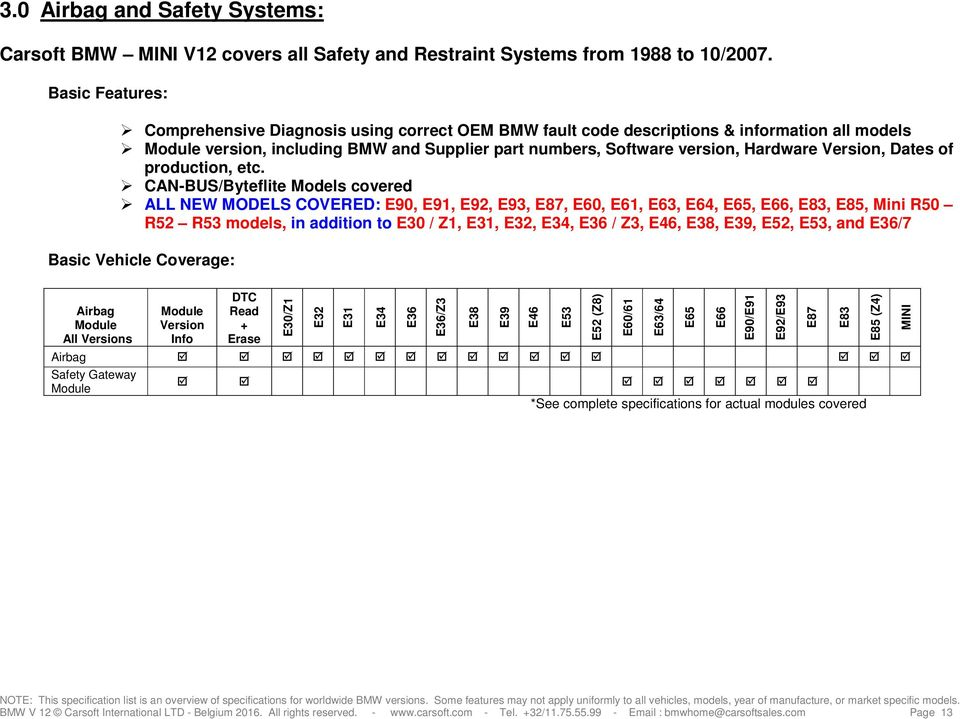 CARSOFT BMW Ultimate Home V12 SPECIFICATIONS - PDF
