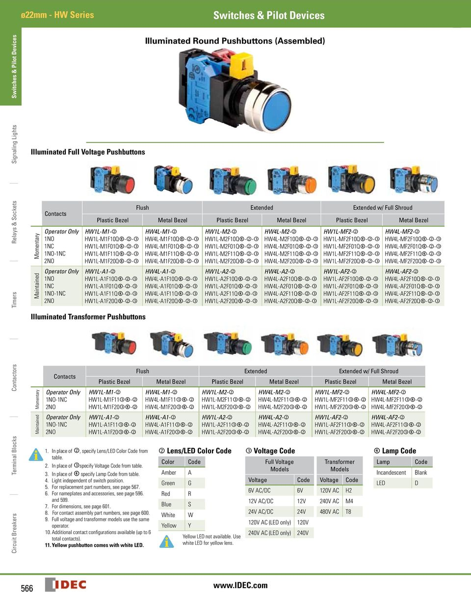 Switches Pilot Devices Pdf Idec Relay Wiring Hwl A K Afqm L