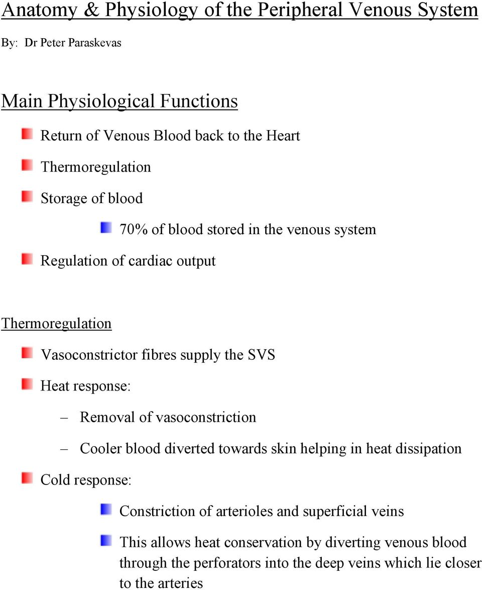 Anatomy Physiology Of The Peripheral Venous System Pdf