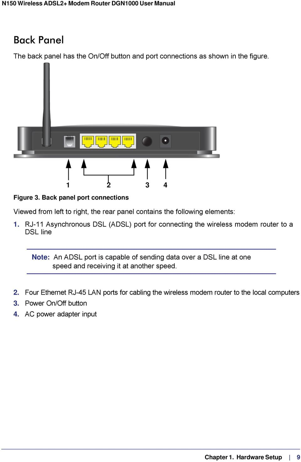 RJ-11 Asynchronous DSL (ADSL) port for connecting the wireless modem router to a DSL line Note: An ADSL port is capable of sending data over a DSL