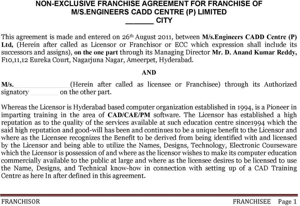 Non Exclusive Franchise Agreement For Franchise Of Mss