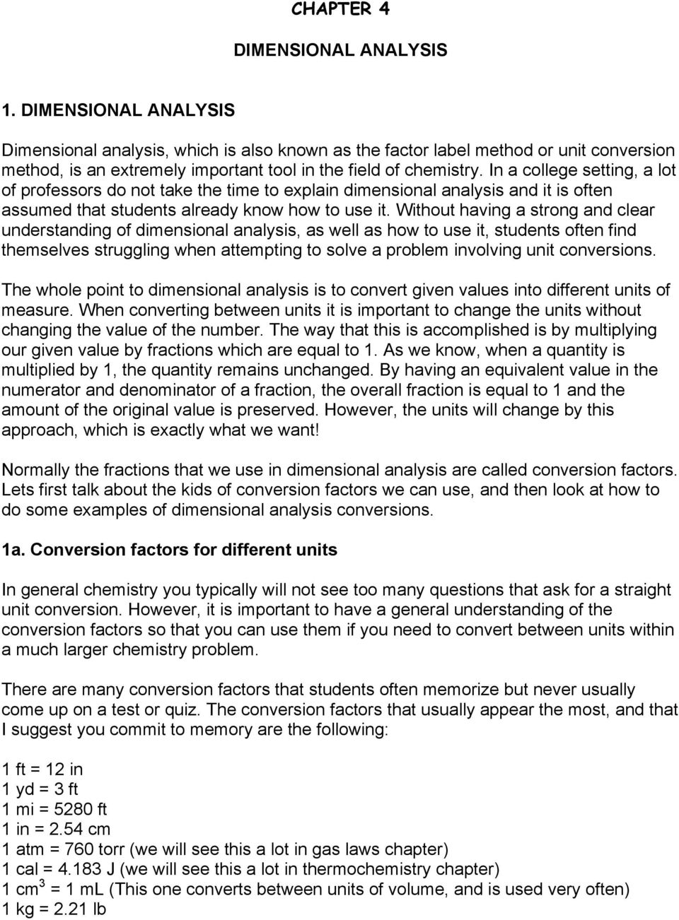 CHAPTER 4 DIMENSIONAL ANALYSIS - PDF