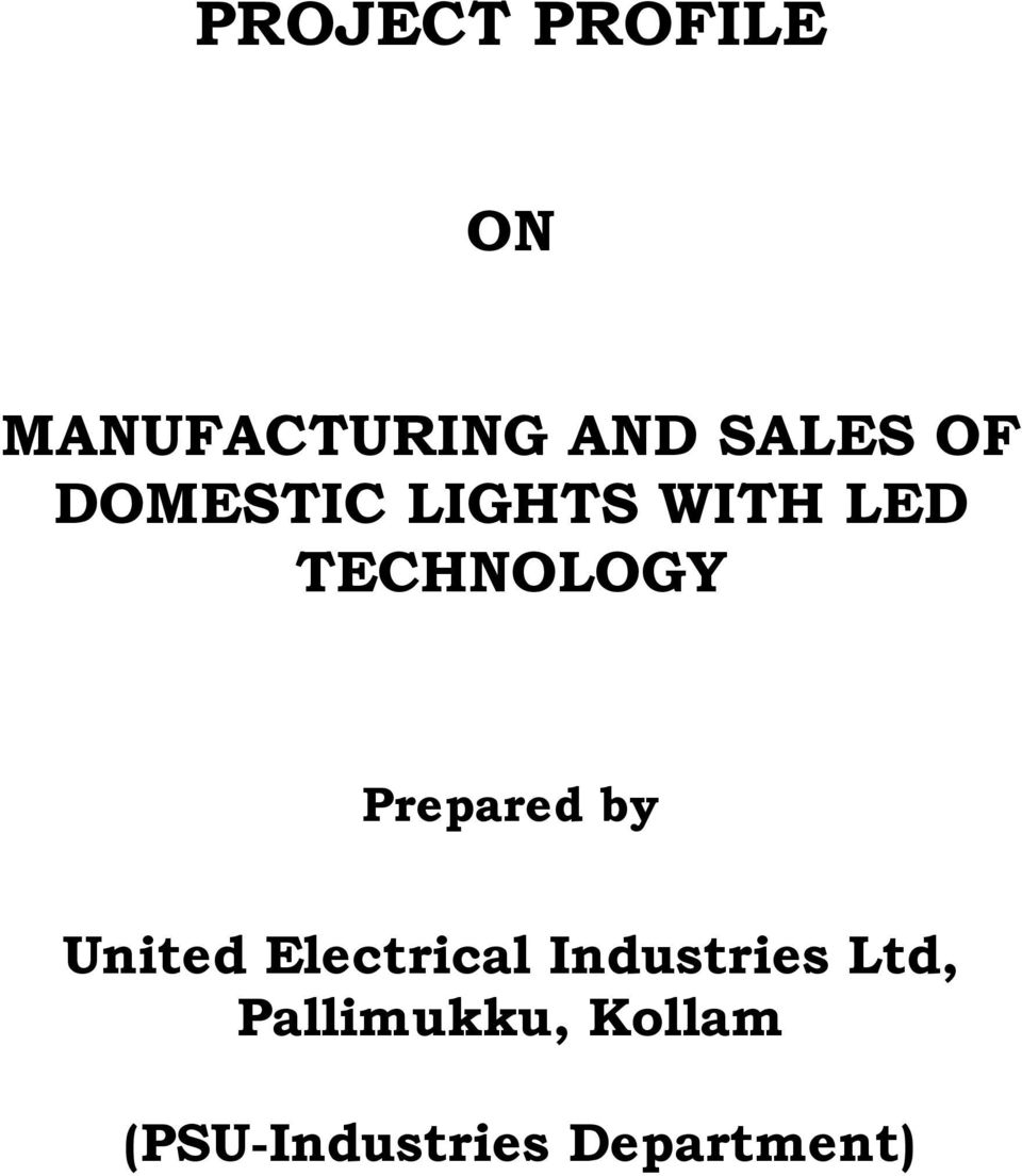 Prepared by United Electrical Industries