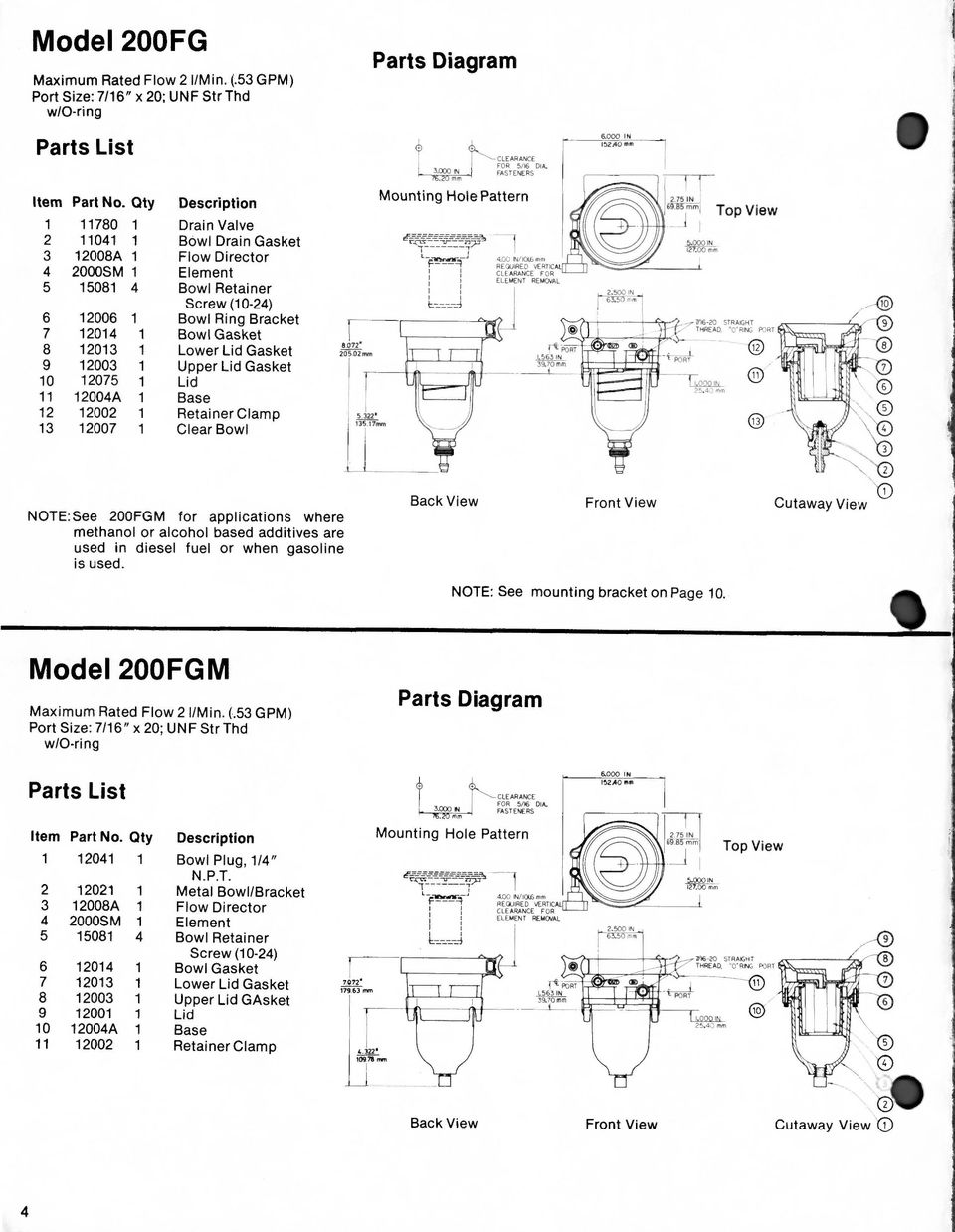 Installation Operation Parts And Service Data Fuel Filter Water 2003 Dodge Mins Diagram Ring Bracket 7 12014 1 Bowl Gasket 8 12013 Lower Lid 9 12003
