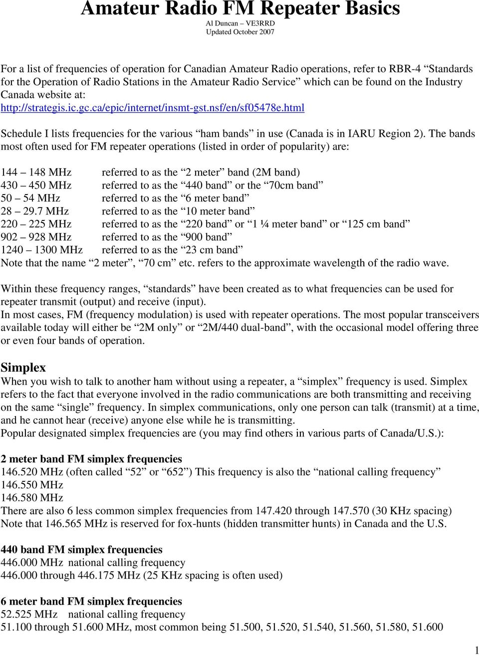 Amateur Radio Fm Repeater Basics Al Duncan Ve3rrd Updated October Pdf Frequency Theory Diagram Modulation National Html Schedule I Lists Frequencies For The Various Ham Bands In Use Canada Is