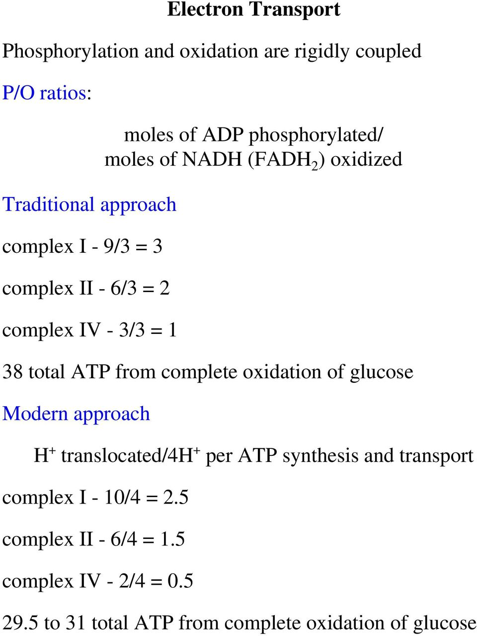 total ATP from complete oxidation of glucose Modern approach H + translocated/4h + per ATP synthesis and transport
