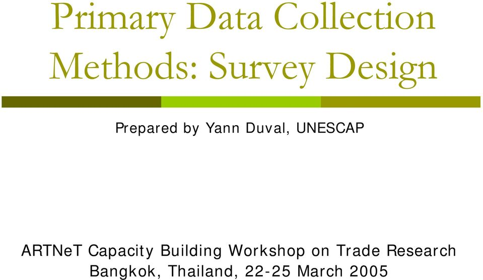 ARTNeT Capacity Building Workshop on