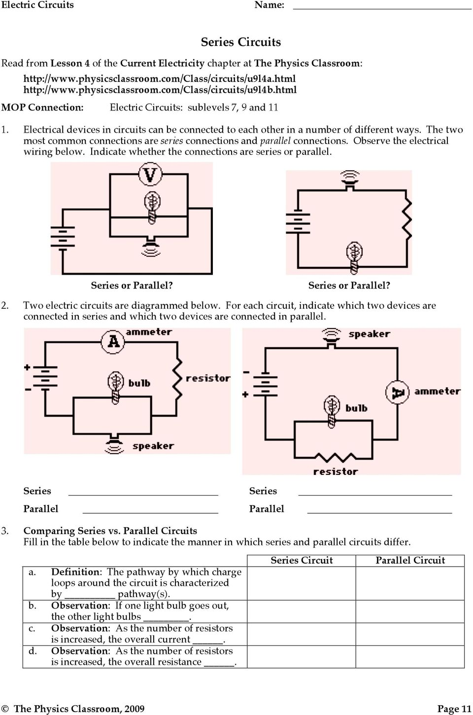 Electric Potential Difference Pdf Parallel And Series Circuits The Two Most Common Connections Are Observe Electrical Wiring