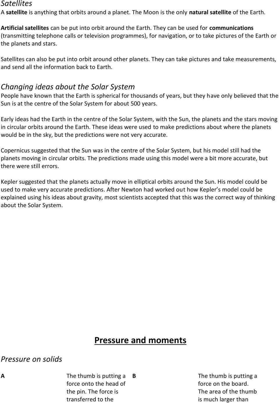 Ks3 Revision Booklet Physics Pdf Electric Current And Potential Difference 5 Satellites Can Also Be Put Into Orbit Around Other Planets They Take Pictures