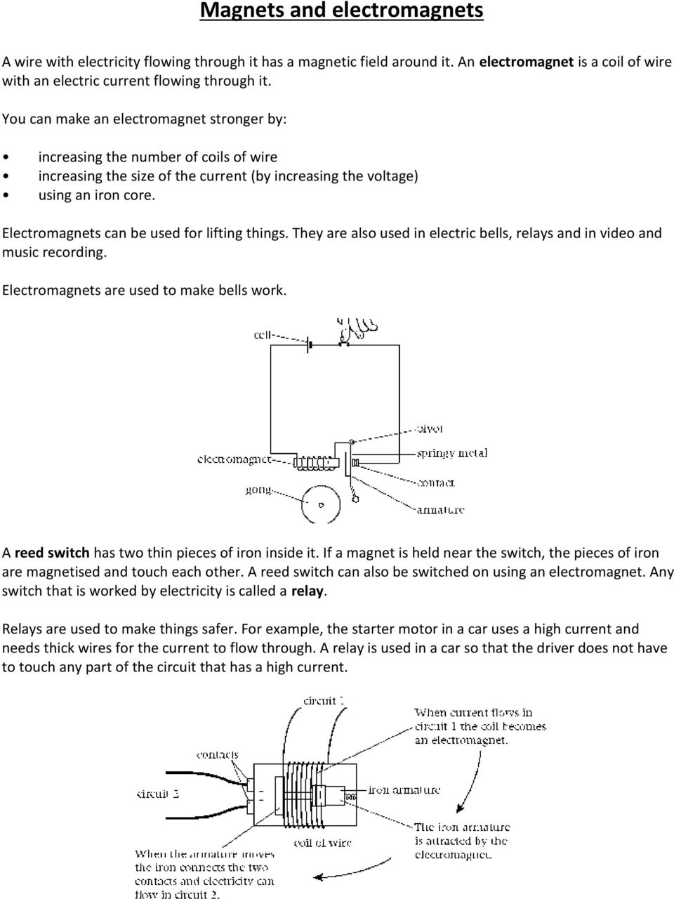 Ks3 Revision Booklet Physics Pdf Electricity Quizzes And Notes For Key Stage 3 Gcse Two Electromagnets Can Be Used Lifting Things They Are Also In Electric Bells