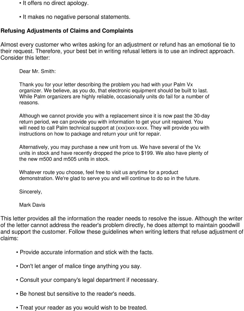 bad news letter indirect approach example