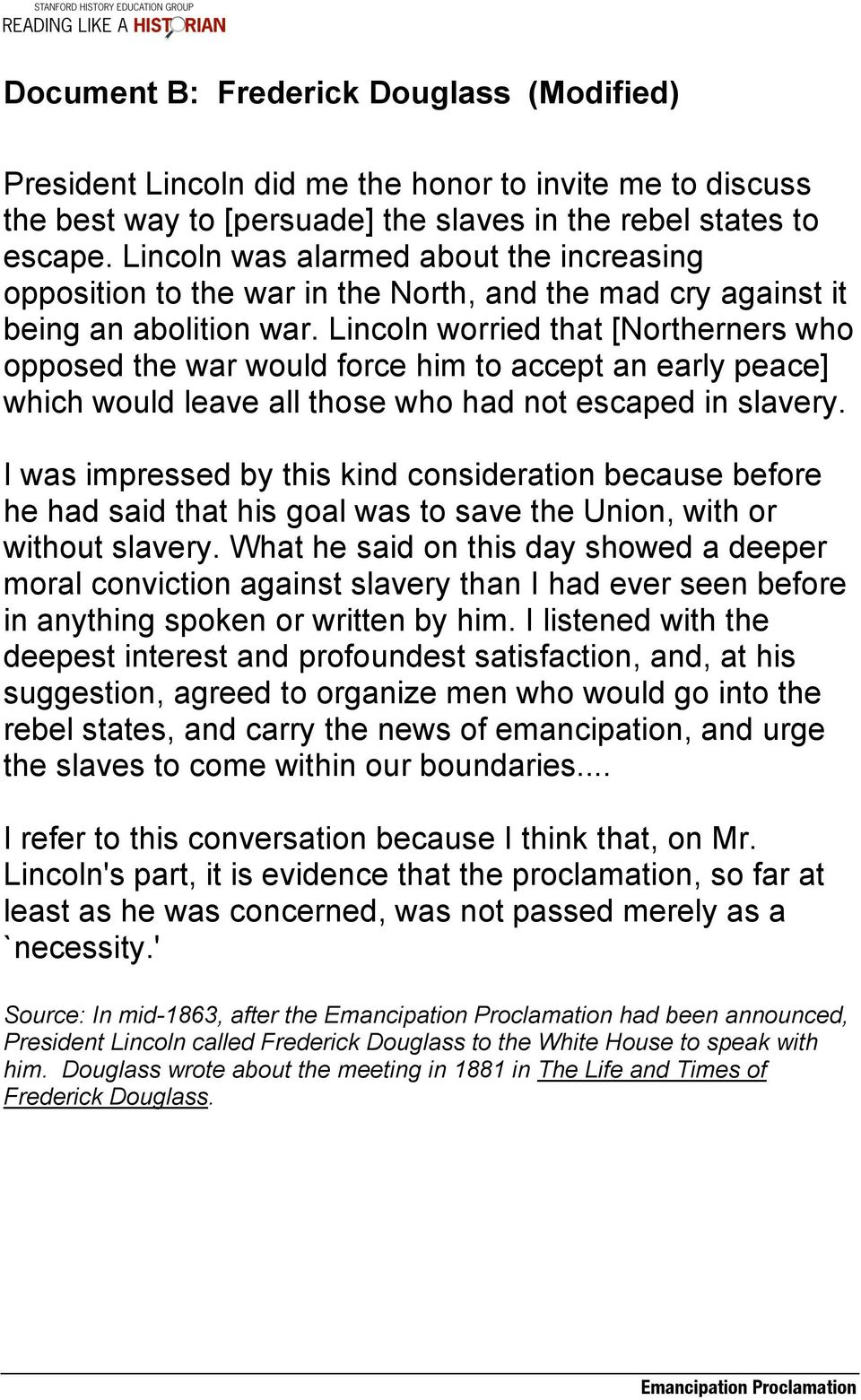 Emancipation Proclamation Lesson Plan Central Historical Question Did Lincoln Free The Slaves Or Did The Slaves Free Themselves Pdf Free Download