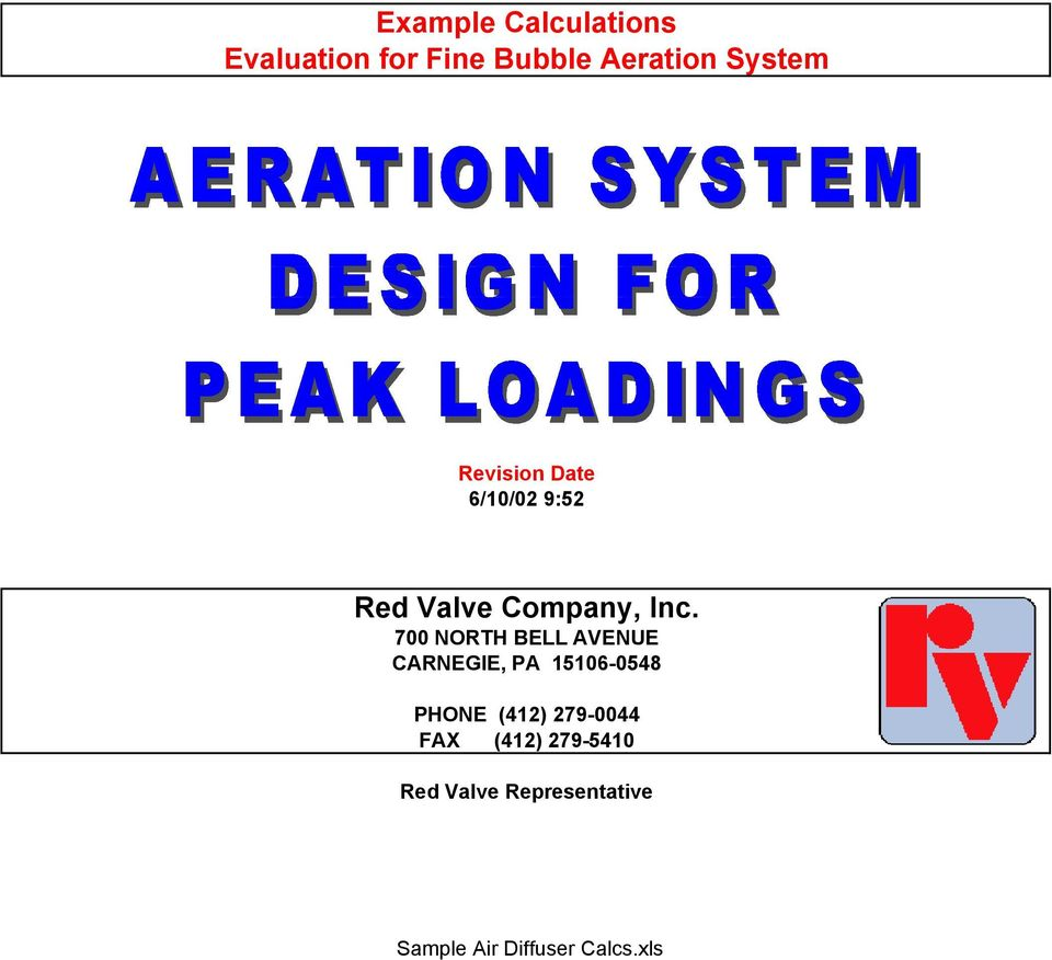 Example Calculations Evaluation for Fine Bubble Aeration System  Red