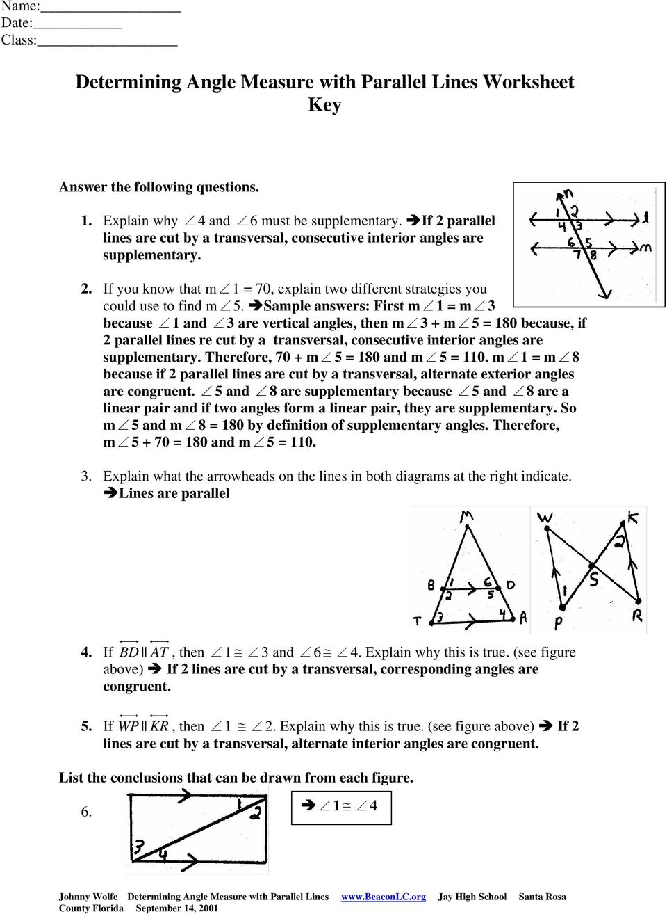 Determining Angle Measure With Parallel Lines Examples Pdf