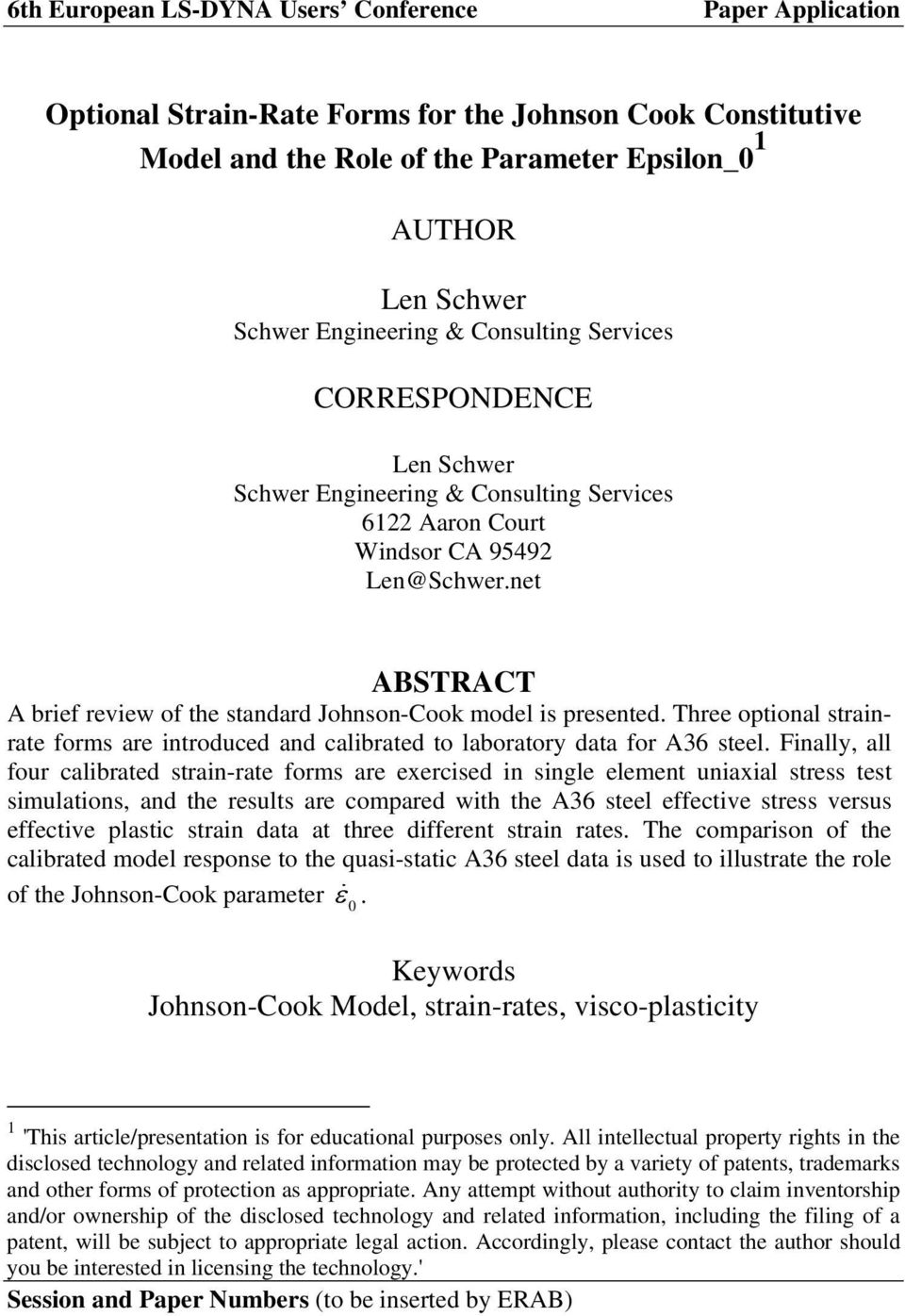 Optional Strain-Rate Forms for the Johnson Cook Constitutive