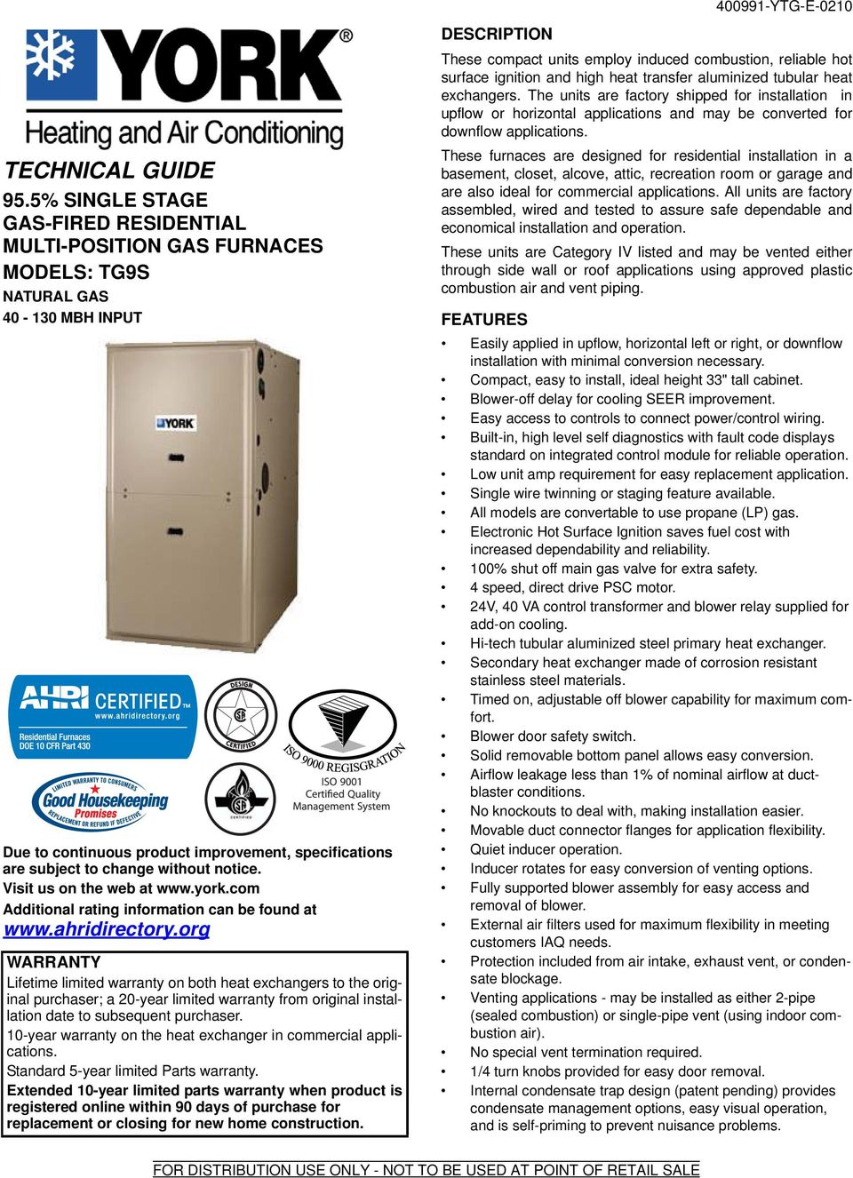 Technical Guide 955 Single Stage Gas Fired Residential Multi Natural Furnaces Wiring Visit Us On The Web At Yorkcom Additional Rating Information Can Be
