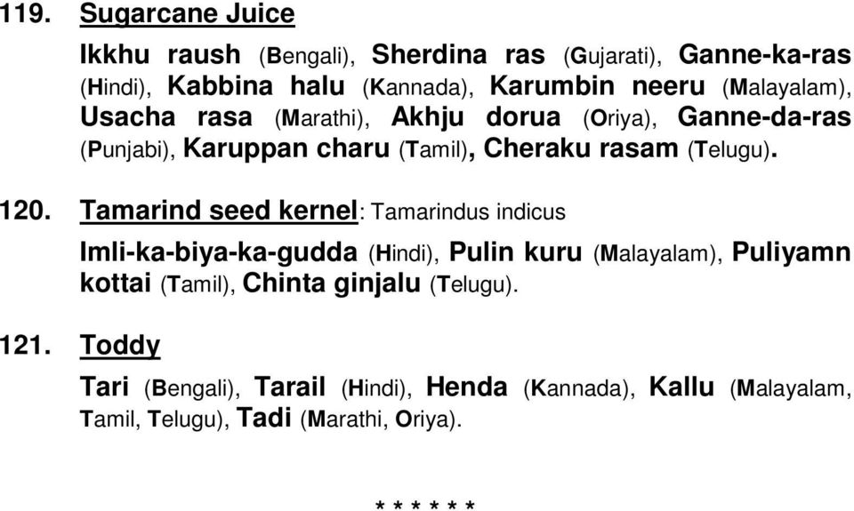 NAMES OF FOODSTUFFS IN INDIAN LANGUAGES - PDF