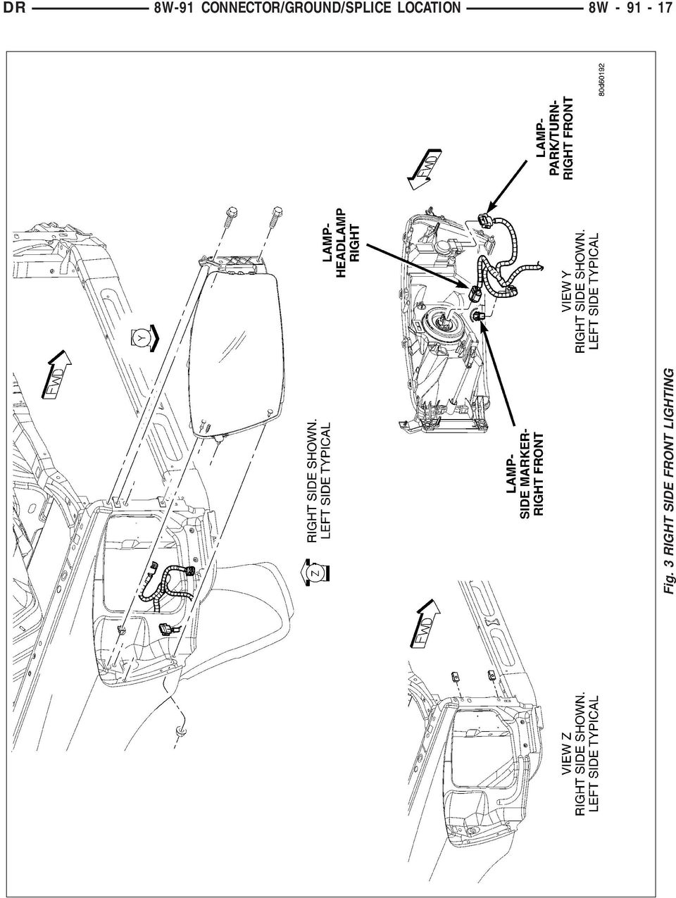 Connector Ground Splice Location Pdf 1999 Jeep Wrangler Fuel Filter 17 Dr 8w 91 Fig 3 Right Side Front Lighting