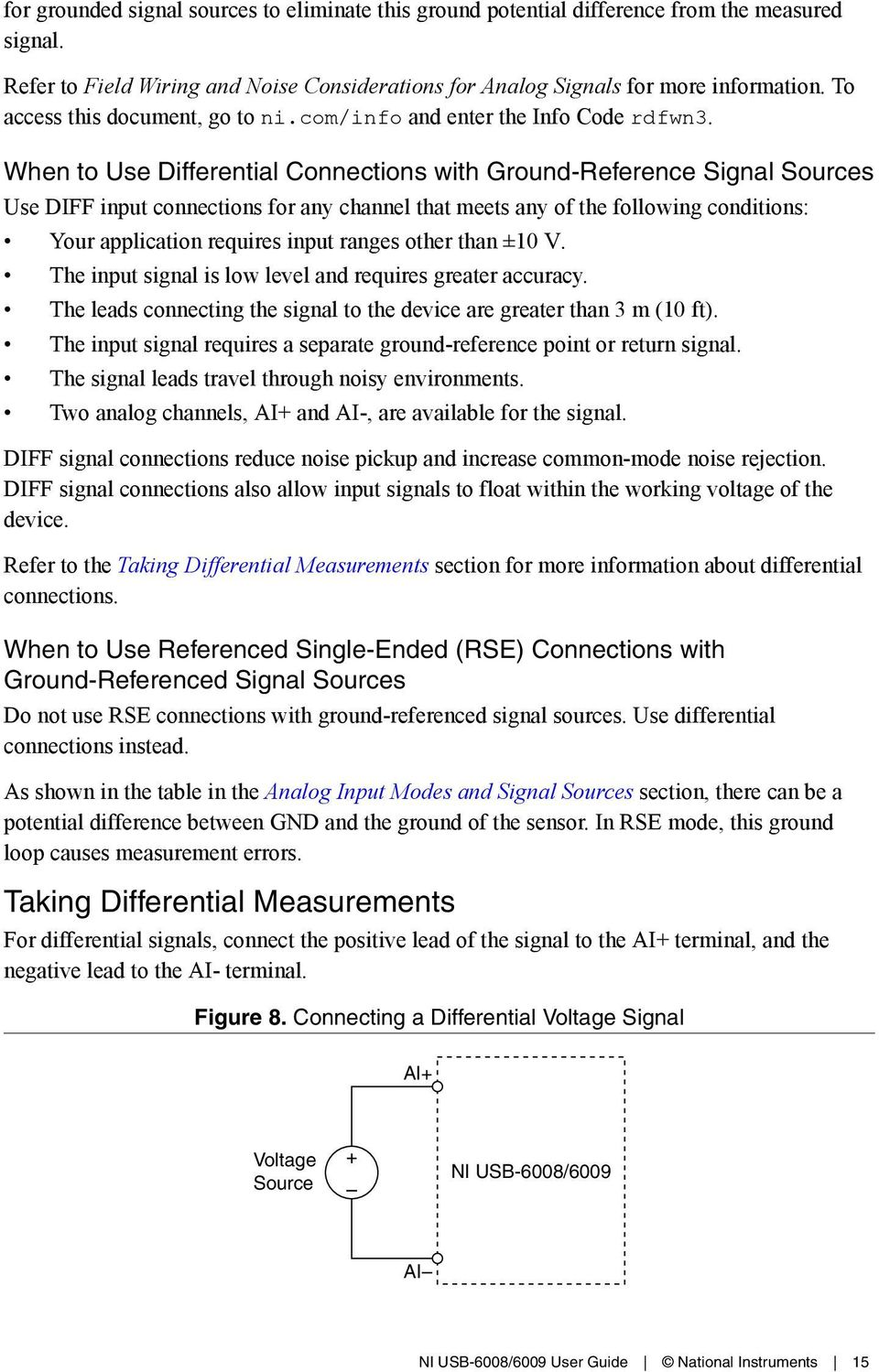 Nicom Manuals Feature Ni Usb 6008 Bits Differential 13 Wiring Diagram When To Use Connections With Ground Reference Signal Sources Diff Input For