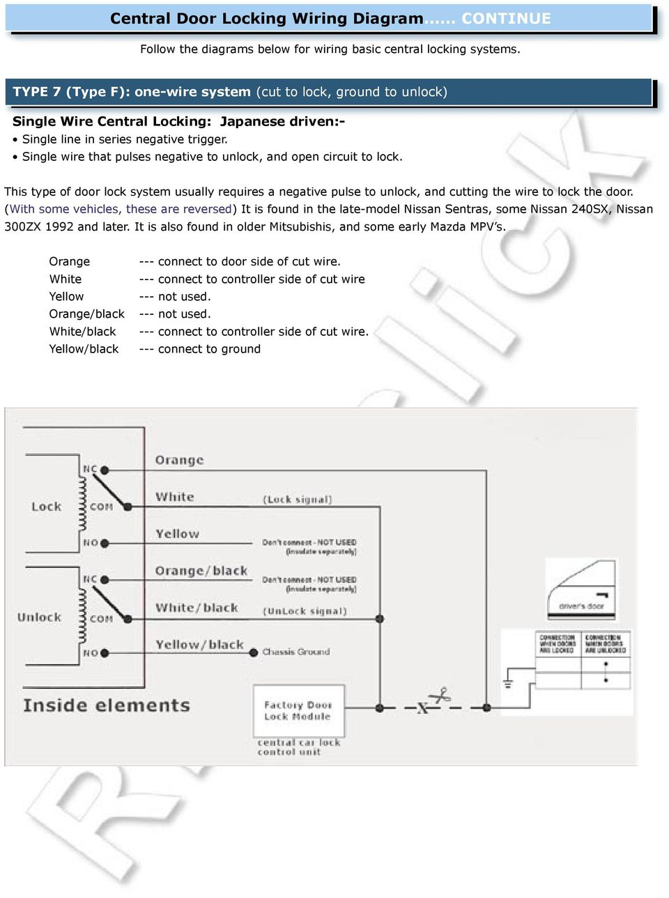 Fitting Installation Guide Universal Pdf Mitsubishi Central Locking Wiring Diagram This Type Of Door Lock System Usually Requires A Negative Pulse To Unlock And Cutting