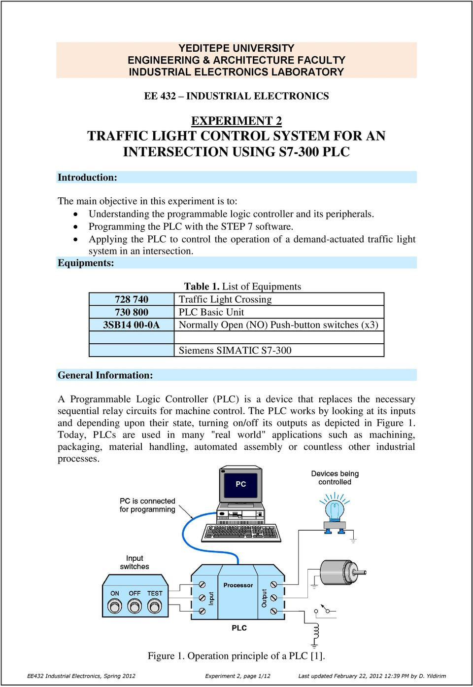 Experiment 2 Traffic Light Control System For An Intersection Using On Off Relay Logic Applying The Plc To Operation Of A Demand Actuated In