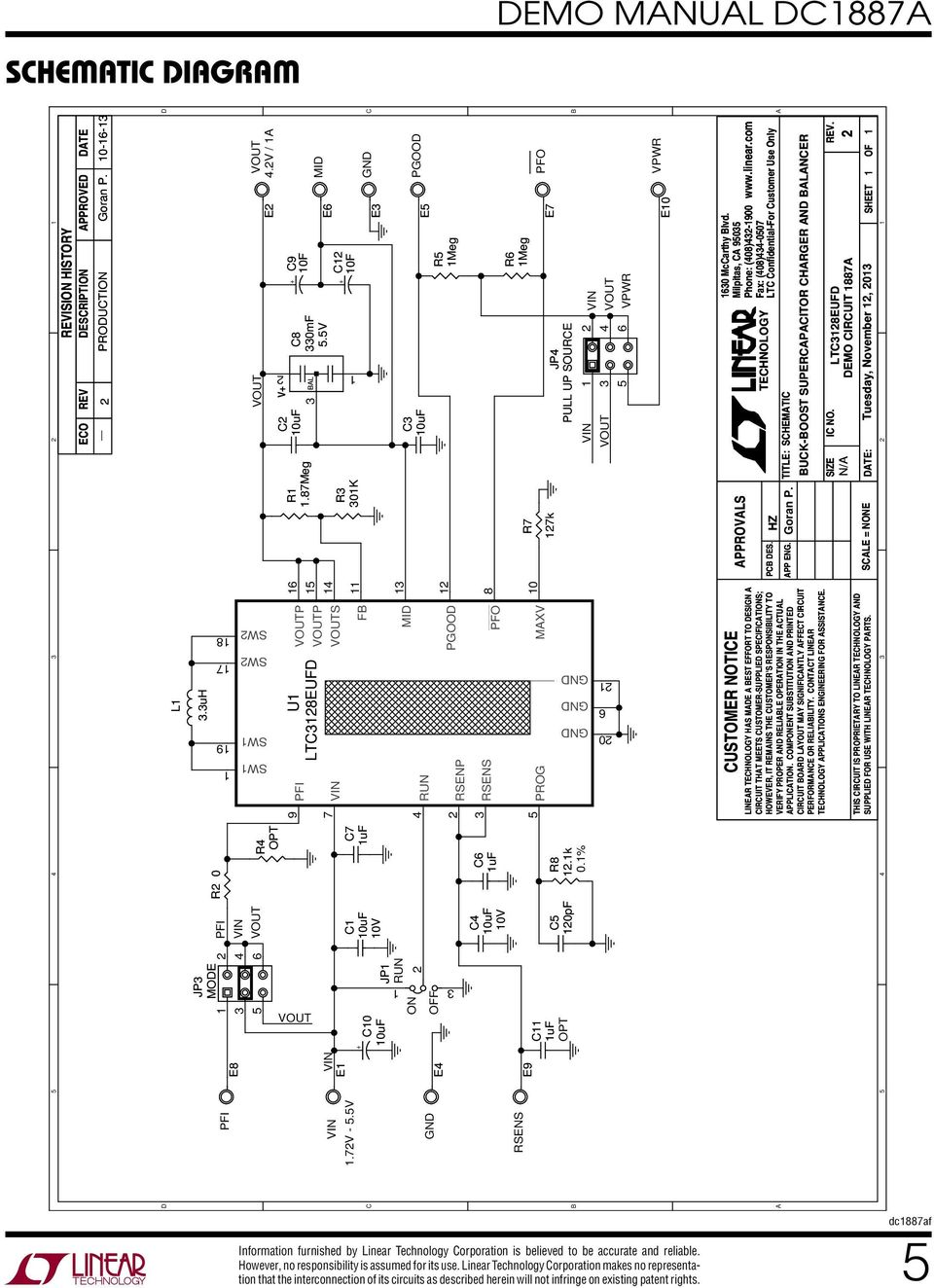 Demo Manual Dc1887a Ltc3128 High Efficiency 2 Cell Supercapacitor Figure 7 A Solar Cellsupercapacitor Charging Circuit With Active 5v C Fb C7 Uf E 0uf 0v Jp C0 Run Pgood