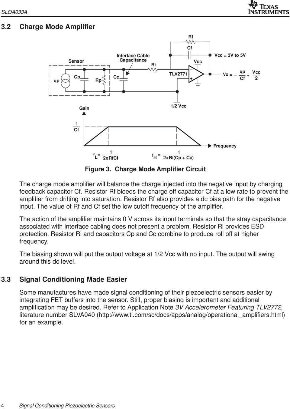 Signal Conditioning Piezoelectric Sensors Pdf Charge Amplifier Circuit Mode The Will Balance Injected Into Negative