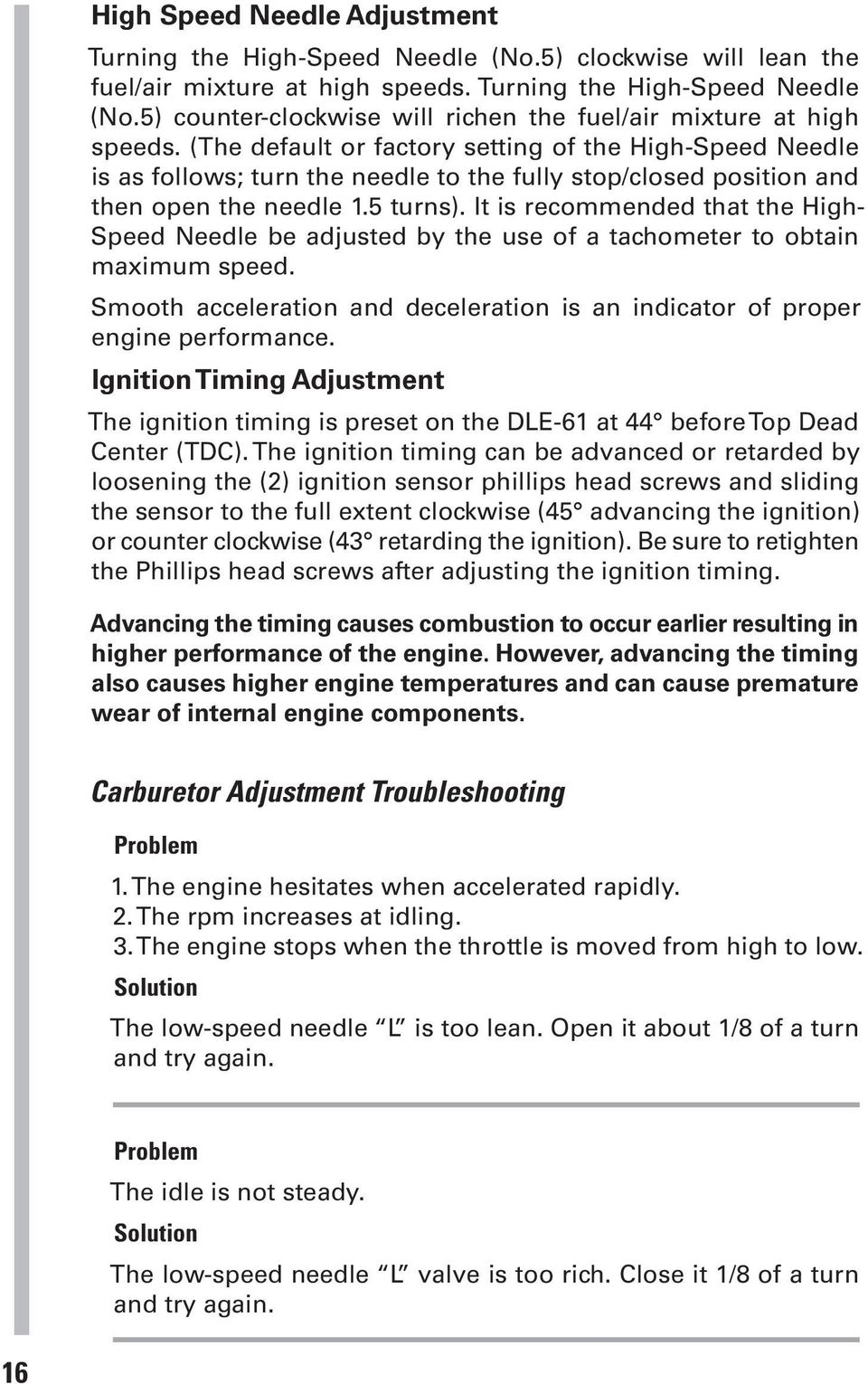 DLE-61  Operator s Manual  Specifications  Displacement: Performance