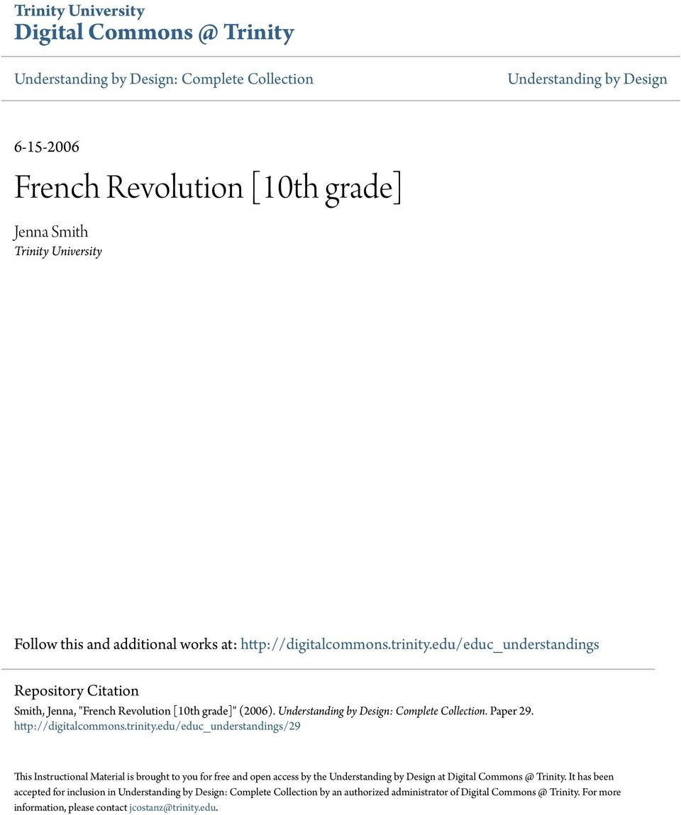 French Revolution 10th Grade Pdf