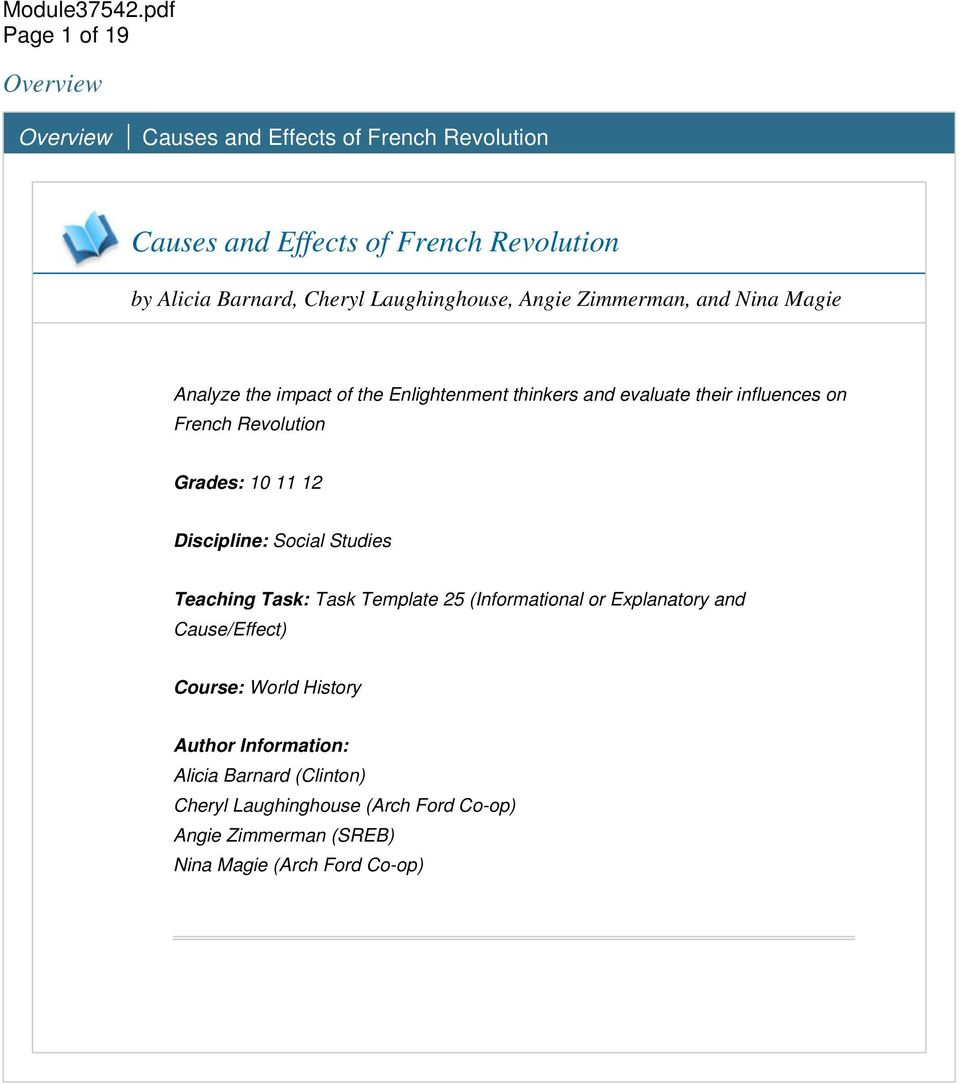Causes and Effects of French Revolution - PDF