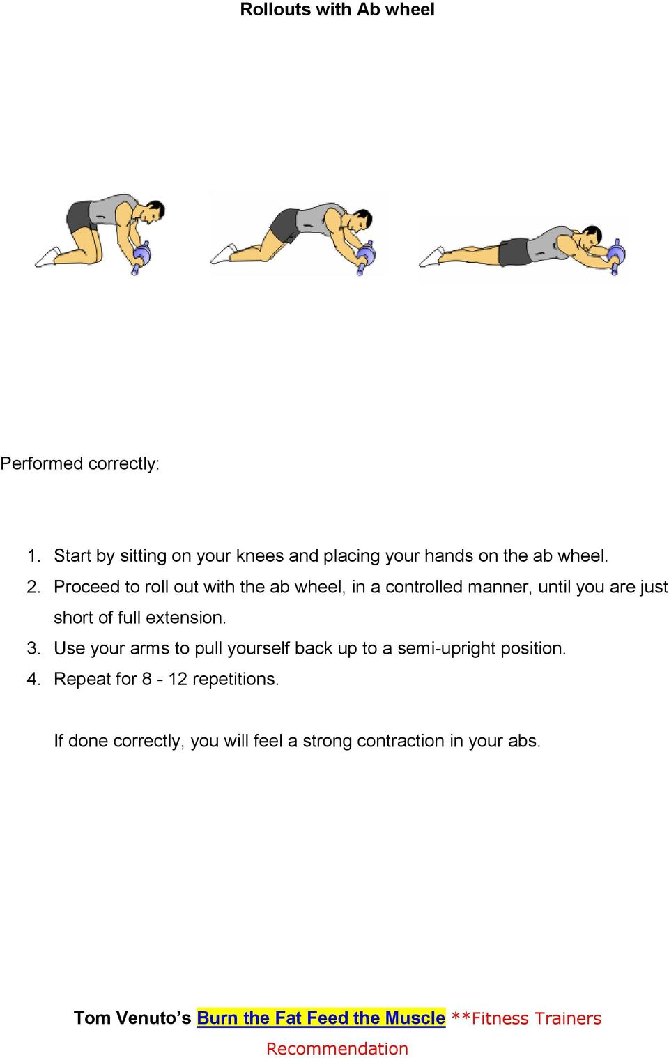 Proceed to roll out with the ab wheel, in a controlled manner, until you are just short of