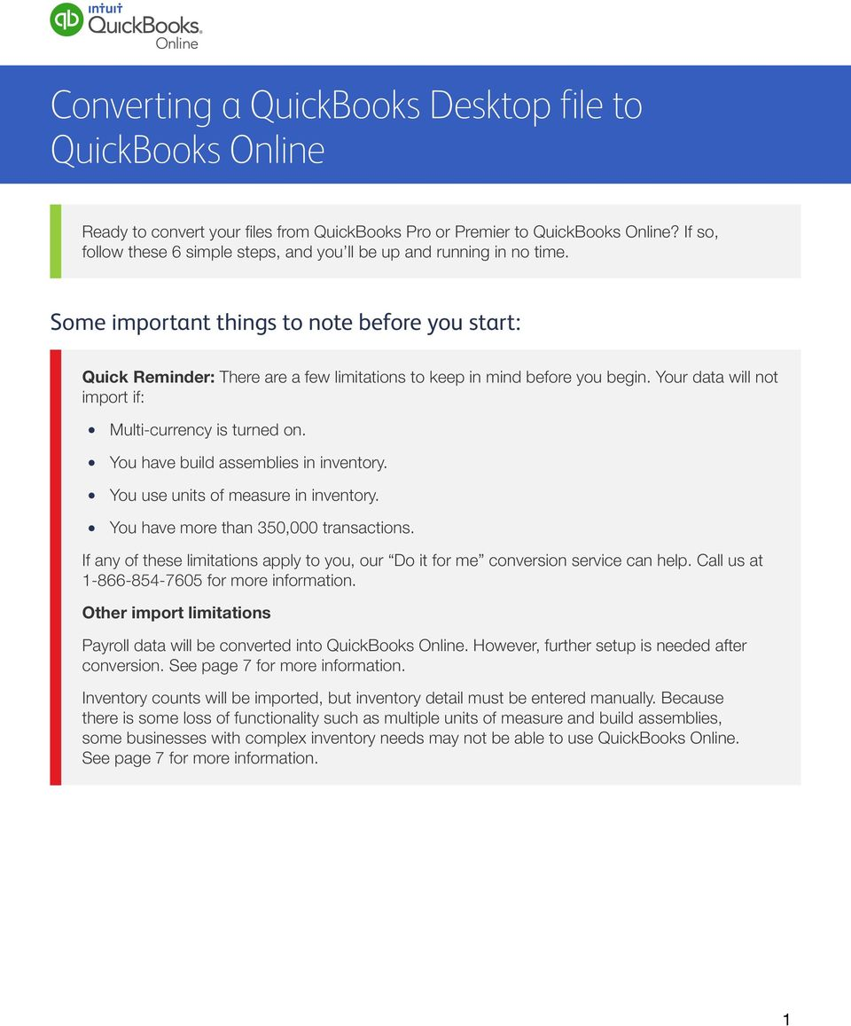 Converting a QuickBooks Desktop file to QuickBooks Online - PDF
