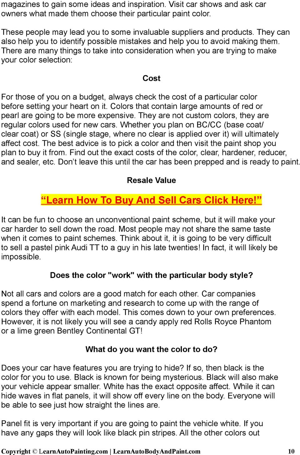 How To Paint Your Car The Written Guide Pdf Free Download