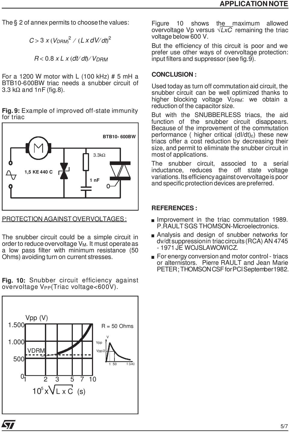 New Triacs Is The Snubber Circuit Necessary Pdf Bta41 600b Datasheet Application Note Electronic Projects 3k 1nf Btb10 600bw Figure 10 Shows Maximum Allowed Overvoltage Vp Versus Lxc Remaining