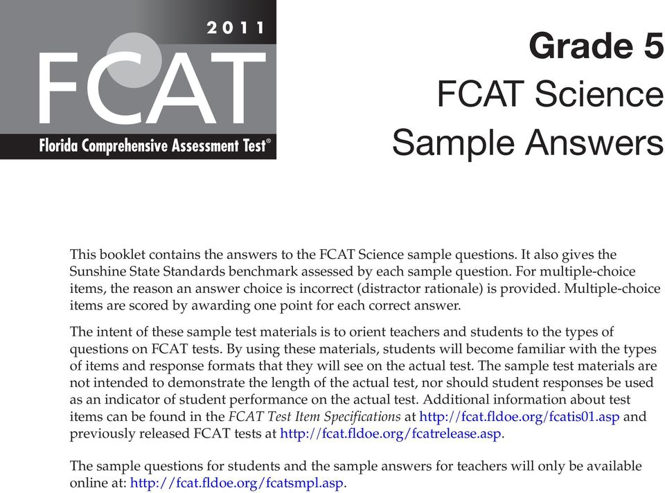 Grade 5 FCAT Science Sample Answers - PDF