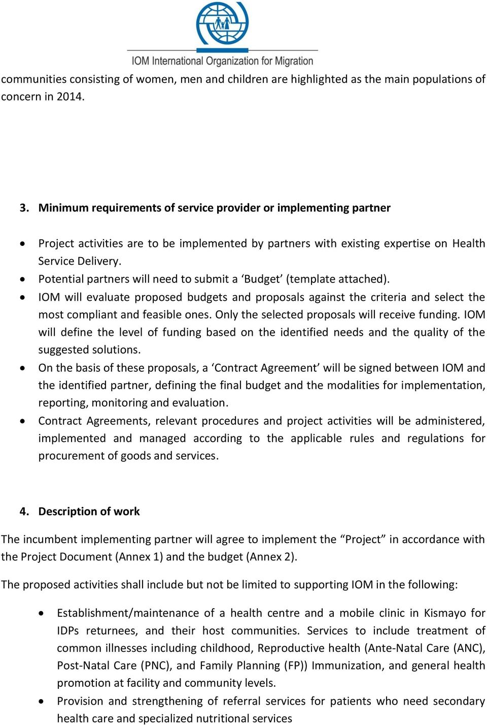 CALL FOR PROPOSALS  Provision of Health Service Delivery